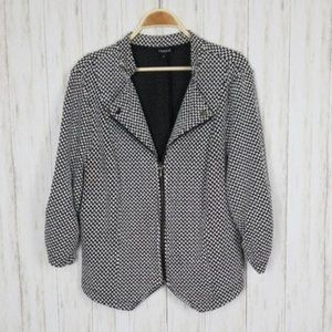 Torrid Black & White Checkered Moto Zip-Up Jacket